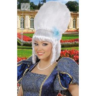 Feestaccessoires: Pruik Marquise met parels en blauwe bloem