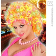 Feestaccessoires: Curly mix neon pruik