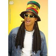 Partyartikelen Rasta hoge hoed met dreadlocks