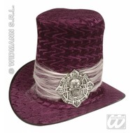 Party hoofddeksels: Hoge hoed fluweel met schedel