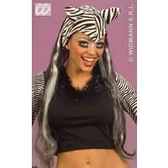 Party-accessoires: Hoofddeksel zebra met haar