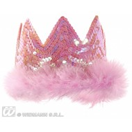 Party-accessoires: Tiara-kroontje met pailetten (roze)