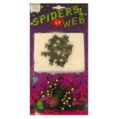Fop artikelen, kleine spinnen in een web