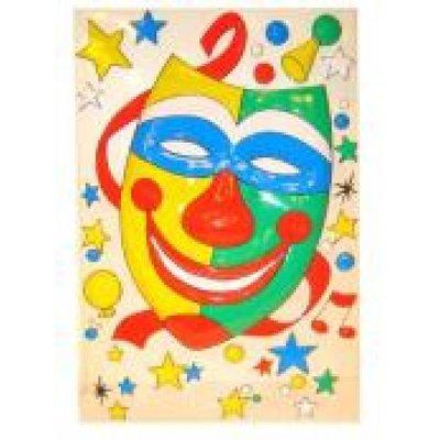 Clownsdeco als masker voor aan de muur