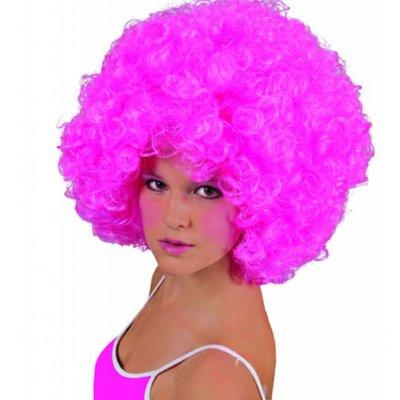 Roze Afro-pruik voor feestjes