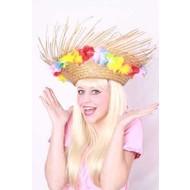 Party- & Feest-accessoires: Strohoed rafel met bloemen