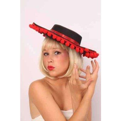 Spaanse hoed met rode balletjes
