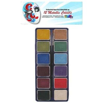 Schmink en grimeerset aquabasis 12 kleuren metallic