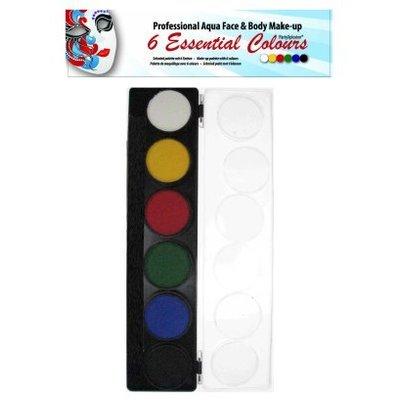 Schmink en grimeerset aquabasis 6 kleuren standaard