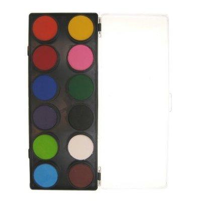 Schmink en grimeerset aquabasis 12 kleuren standaard