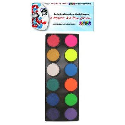 Schmink en grimeerset aquabasis 6 neon en 6 metallic kleuren