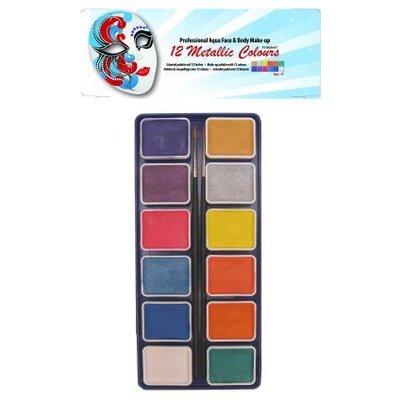 Schmink en grimeerset aquabasis 12 metallic kleuren