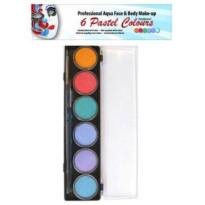 Schmink en grimeerset aquabasis 6 pastel kleuren