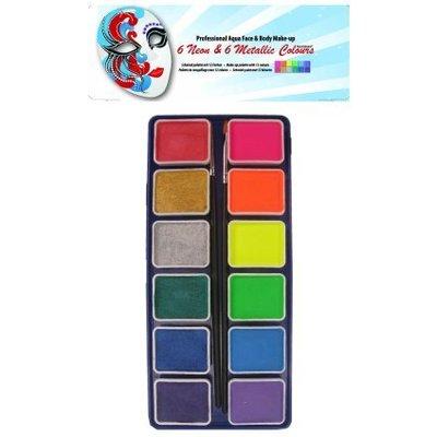 Schmink en grimeerset aquabasis 12 kleuren neon-metallic