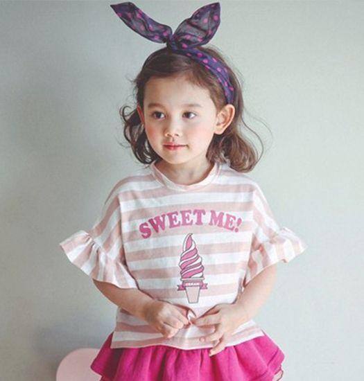 ORANGE MOM -  Gestreepte ice cream shirt