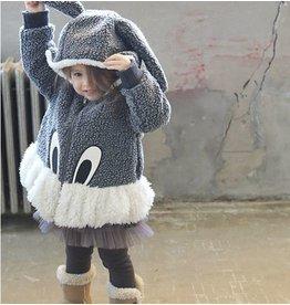 COCO - Meisjes jas grijs konijn met capuchon