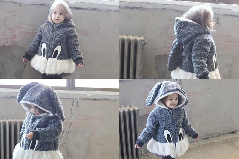 COCO - Meisjes jas grijs konijn met capuchon en jaszakken