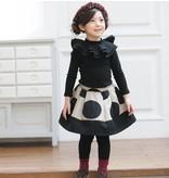 MOMO ANN - Zwarte longsleeve shirt met ruffle kraag