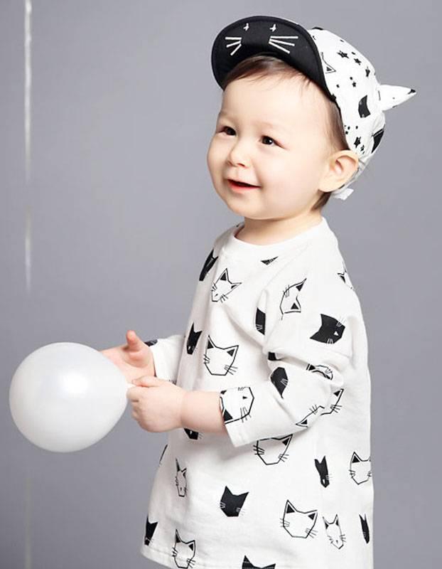 HAPPY PRINCE - Meisjes shirt katten zwart en wit