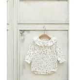 MINI DRESSING- Baby romper beige met polkadot