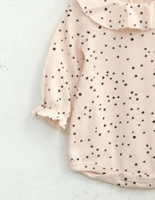 MINI DRESSING- Romper baby roze met polkadot