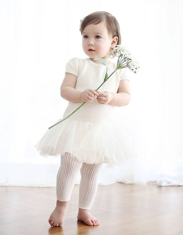 HAPPY PRINCE - Witte meisjes maillot met patroon zonder voetstuk