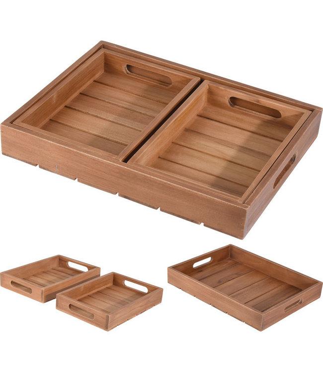 Dienbladen van hout teak - set van 3