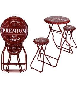 Bartafel met 2 stoelen - rood