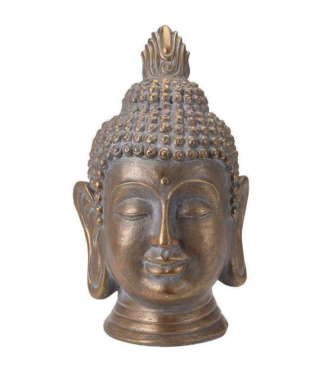 Boeddha Hoofd - Tuinbeeld - bronskleur - 74.5cm