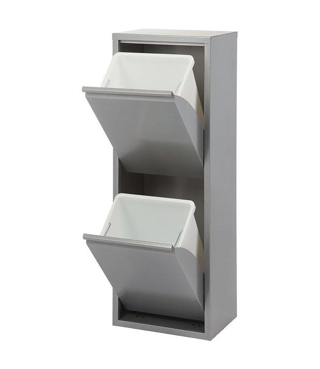 Duett - Afvalbak voor Recycling - Vrijstaand - Dubbele Bak - Grijs