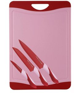 RVS Messenset met snijbord rood
