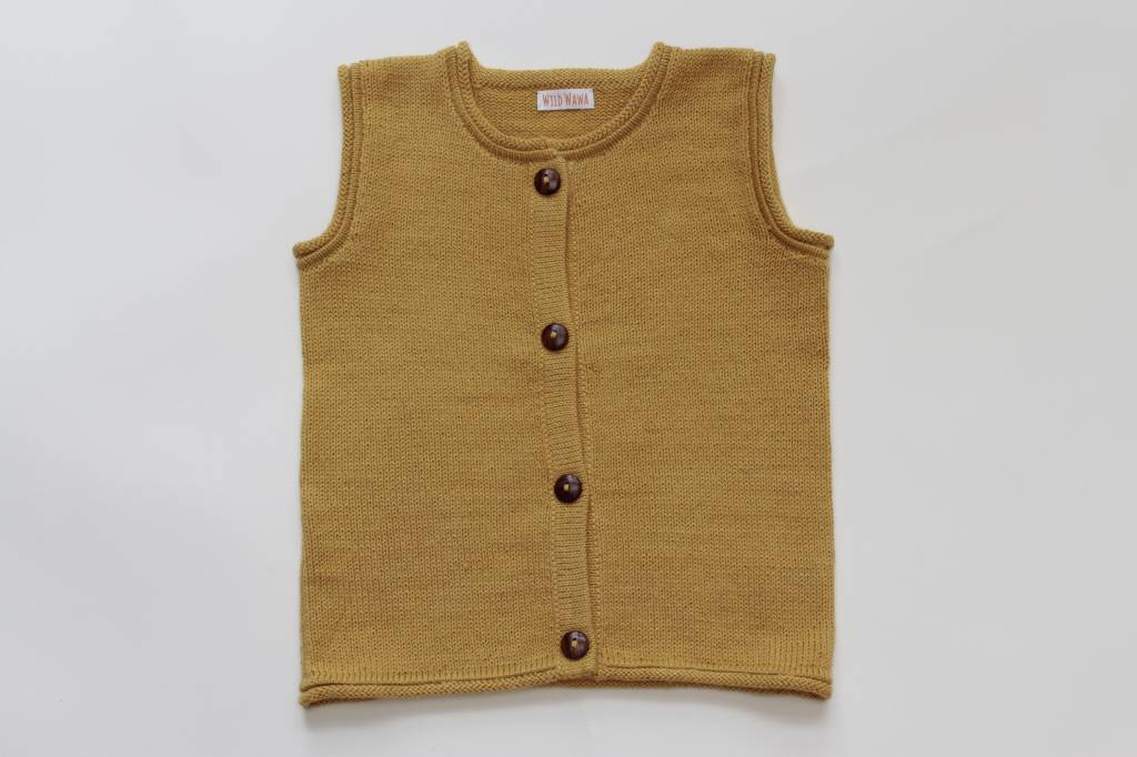 Alpaca sweater vest yellow
