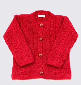 Red alpaca cardigan