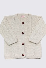 Alpaca cardigan in soft white with wooden buttons