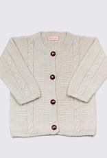 Natuurlijk zacht wit alpacawol vestje met houten knopen