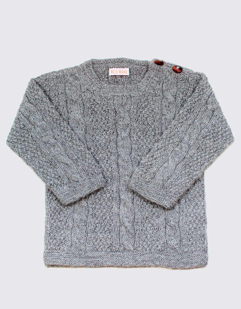 Alpaca cable sweater in light grey