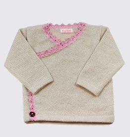 Alpaca crossover cardigan in soft white and pink