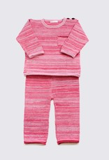 Alpaca setje met broek en trui in fijne tinten rood en roze
