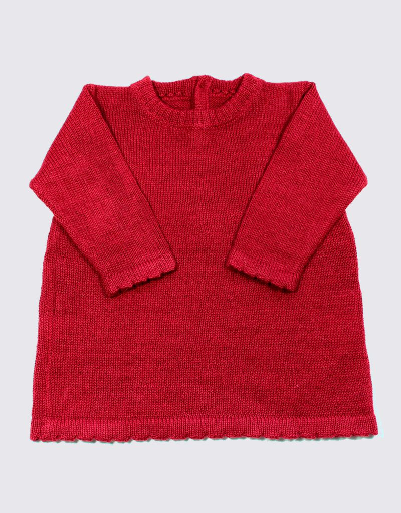 Alpaca dress in red with wooden buttons