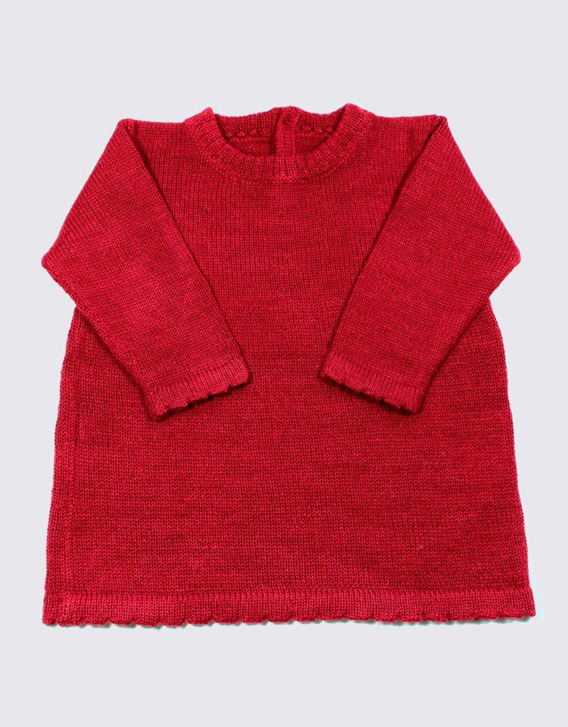 Alpaca jurkje in rood met houten knopen