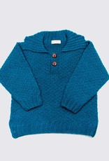 Hand-knitted turquoise alpaca sweater with collar and wooden buttons