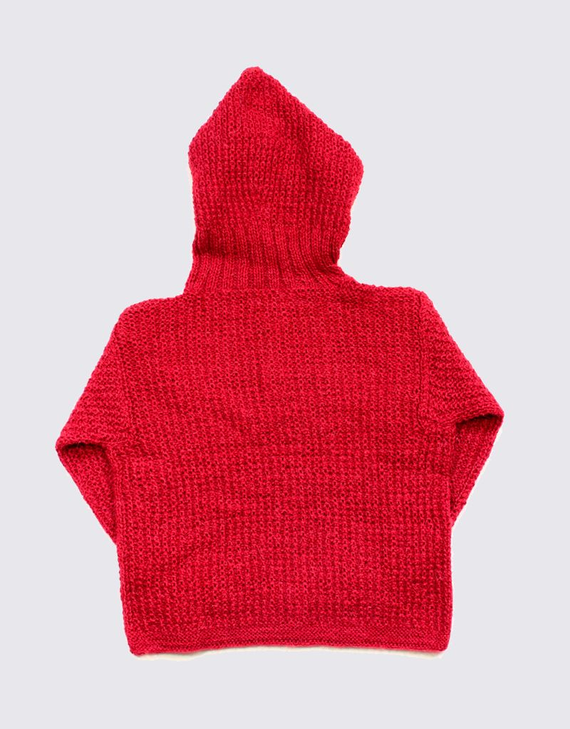 Alpaca hoodie in red with wooden buttons
