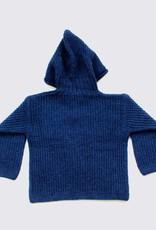 Alpaca hoodie in dark blue with wooden buttons