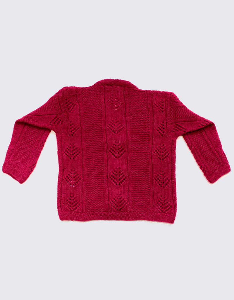 Burgundy red alpaca cardigan with wooden buttons