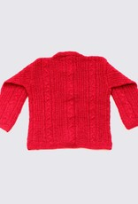 Red alpaca wool cardigan with round neck and wooden buttons