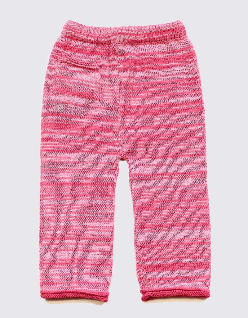 Alpaca set of trousers and sweater in red and pink