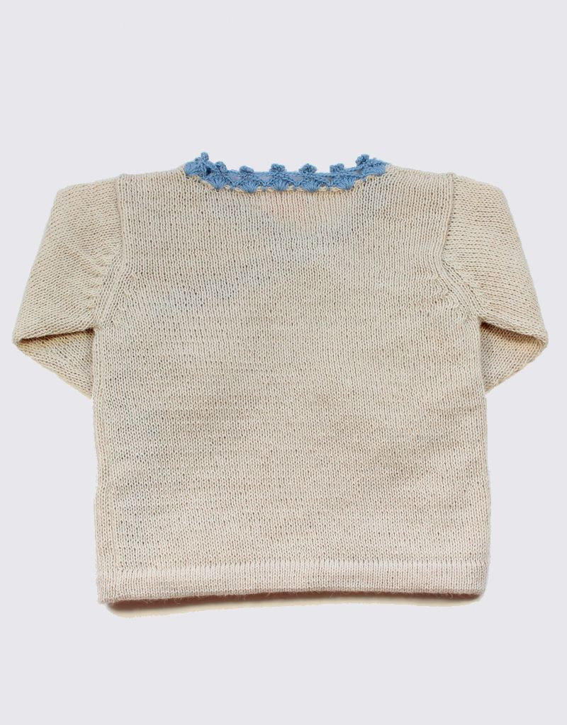 Alpaca crossover cardigan in soft white and blue crochet with wooden buttons