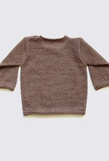 Alpaca sweater in natural brown with coconut buttons on the shoulder