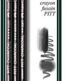 Faber Castell Faber-Castell Pitt houtskool Monochrome 3 stuks op blister