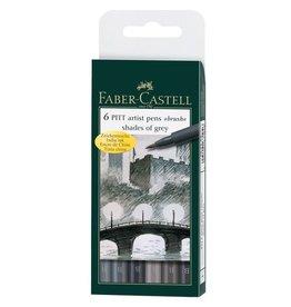 Faber Castell Faber Castell tekenstift Pitt Artist Pen 6-delig etui Shades of Grey